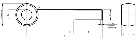 DIN 444 A , SS Lifting Eyebolt drawing
