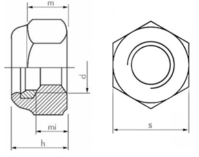 DIN 985 Nylon Lock Nut drawing